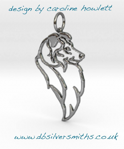Sheltie shetland sheepdog pendant sterling silver handmade by saw piercing